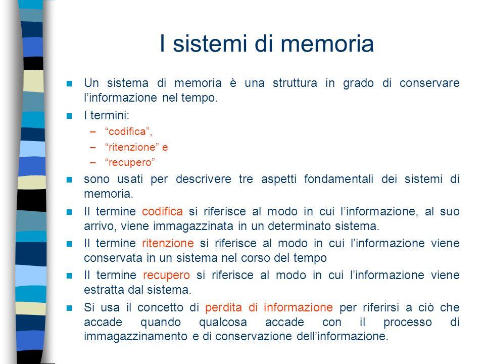 I sistemi di memoria Un sistema di memoria è una struttura in grado di conservare linformazione nel tempo. I termini: –codifica, –ritenzione e –recupe
