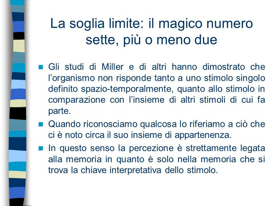 La soglia limite: il magico numero sette, più o meno due Gli studi di Miller e di altri hanno dimostrato che lorganismo non risponde tanto a uno stimo