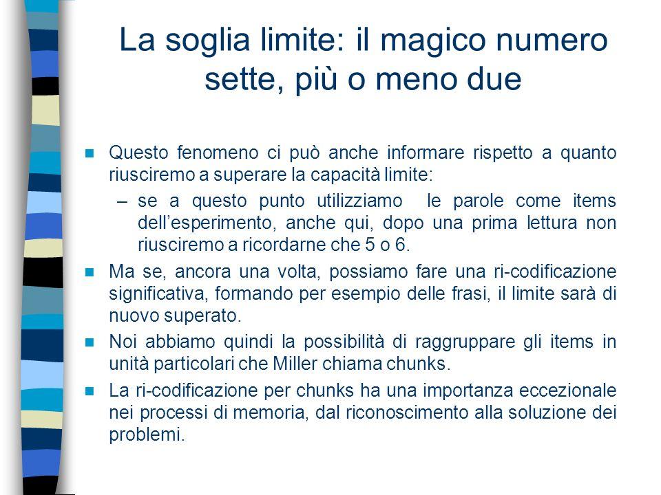 La soglia limite: il magico numero sette, più o meno due Questo fenomeno ci può anche informare rispetto a quanto riusciremo a superare la capacità li