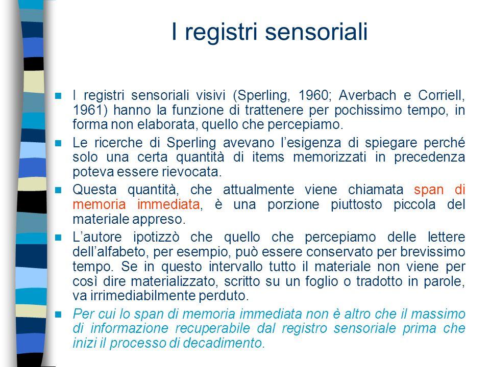 I registri sensoriali I registri sensoriali visivi (Sperling, 1960; Averbach e Corriell, 1961) hanno la funzione di trattenere per pochissimo tempo, i
