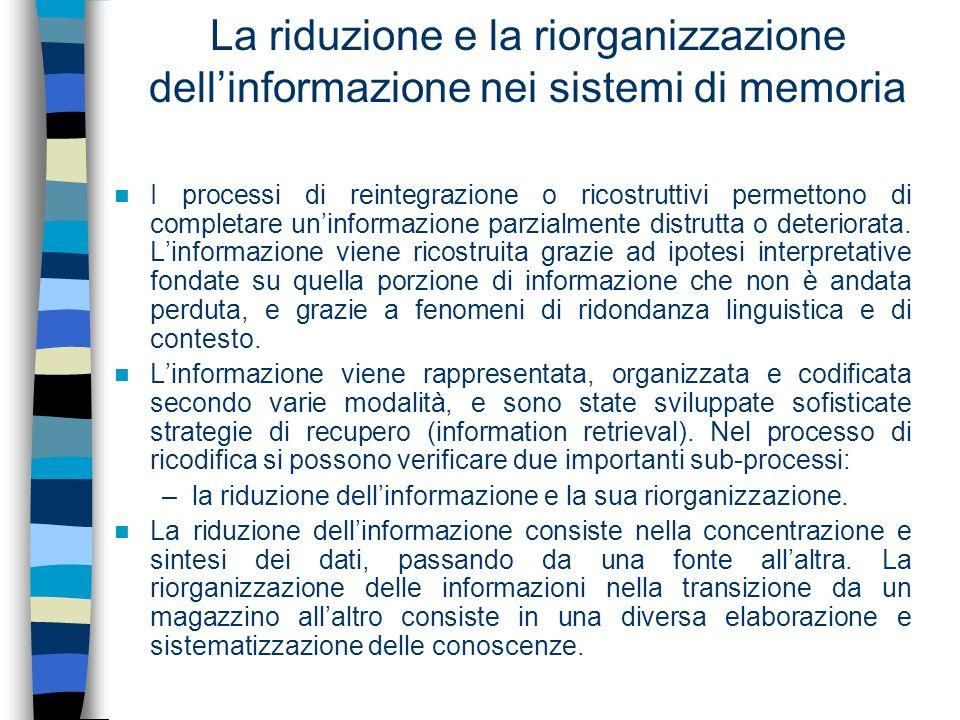 La riduzione e la riorganizzazione dellinformazione nei sistemi di memoria I processi di reintegrazione o ricostruttivi permettono di completare uninf