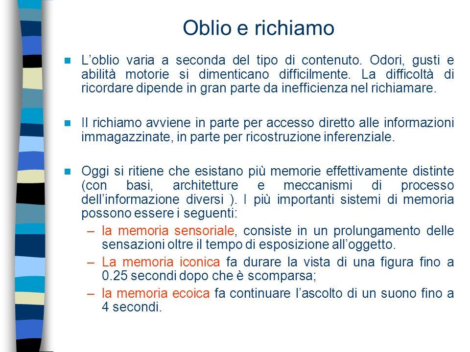 Schemi e memoria I cognitivisti suppongono che in questo complesso di schemi non siano contenute solo delle nozioni, ma anche delle istruzioni sul modo in cui vanno eseguite le azioni.