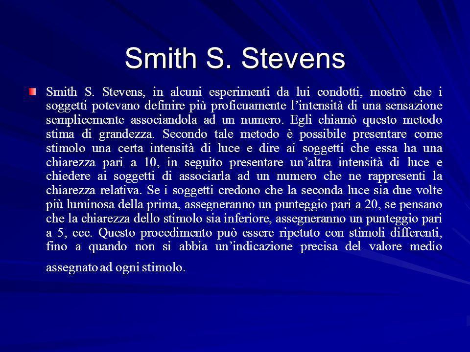 Smith S. Stevens Smith S. Stevens, in alcuni esperimenti da lui condotti, mostrò che i soggetti potevano definire più proficuamente lintensità di una