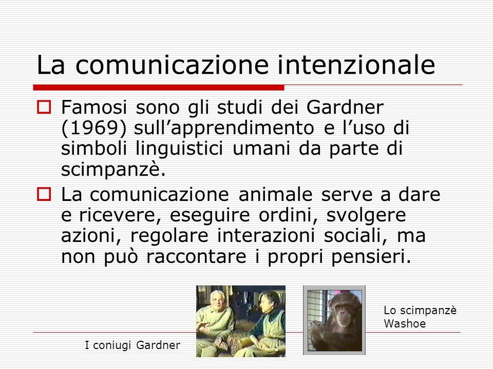La comunicazione intenzionale Famosi sono gli studi dei Gardner (1969) sullapprendimento e luso di simboli linguistici umani da parte di scimpanzè. La