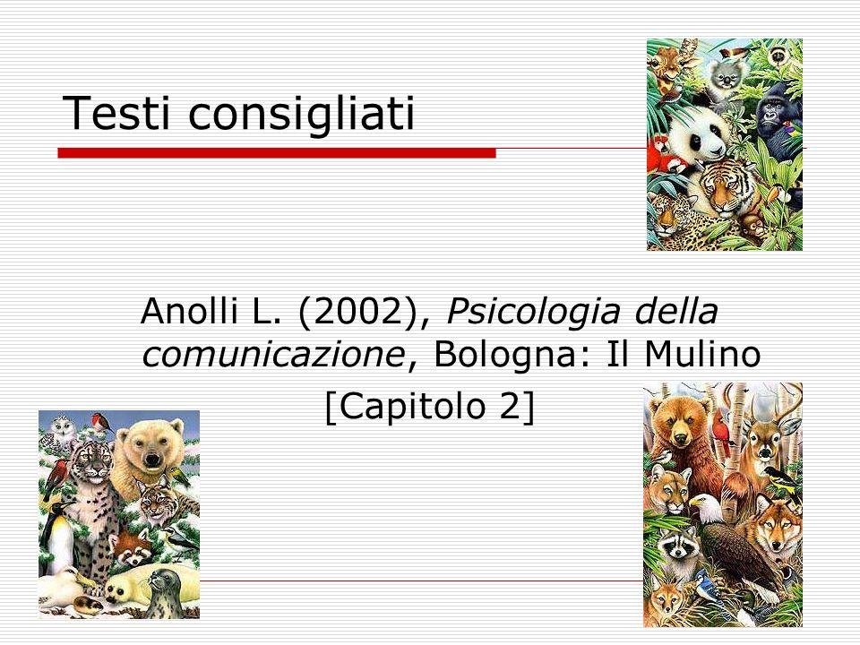 Testi consigliati Anolli L. (2002), Psicologia della comunicazione, Bologna: Il Mulino [Capitolo 2]