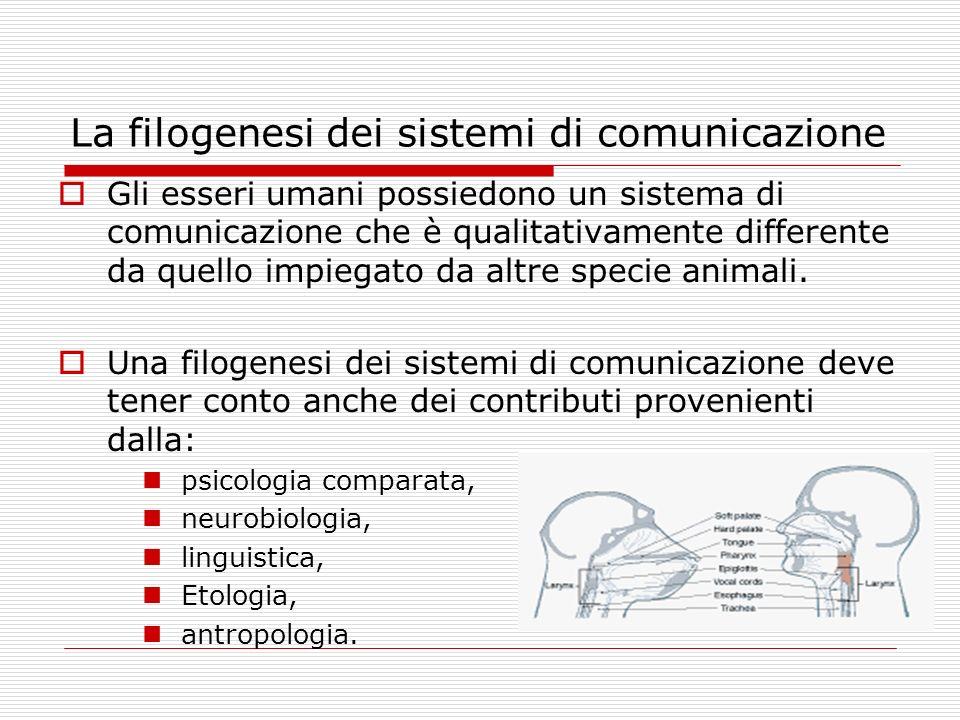 La filogenesi dei sistemi di comunicazione Assieme agli aspetti di discontinuità, occorre riconoscere e accertare gli aspetti di continuità filogenetica fra la comunicazione animale e quella umana.