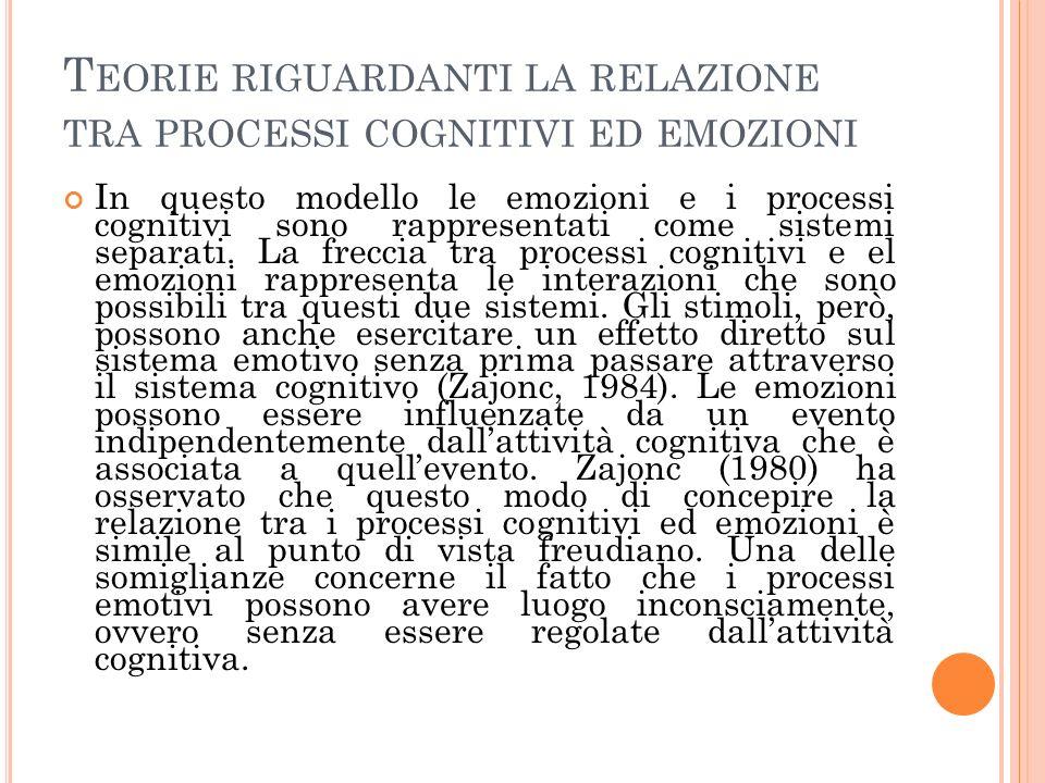 T EORIE RIGUARDANTI LA RELAZIONE TRA PROCESSI COGNITIVI ED EMOZIONI In questo modello le emozioni e i processi cognitivi sono rappresentati come sistemi separati.