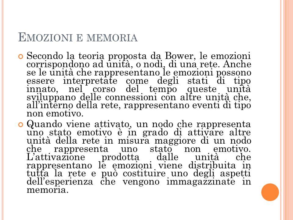 E MOZIONI E MEMORIA Secondo la teoria proposta da Bower, le emozioni corrispondono ad unità, o nodi, di una rete. Anche se le unità che rappresentano