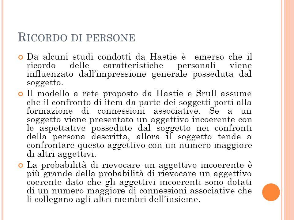 R ICORDO DI PERSONE Da alcuni studi condotti da Hastie è emerso che il ricordo delle caratteristiche personali viene influenzato dallimpressione generale posseduta dal soggetto.