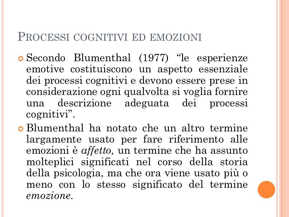 P ROCESSI COGNITIVI ED EMOZIONI Secondo Blumenthal (1977) le esperienze emotive costituiscono un aspetto essenziale dei processi cognitivi e devono essere prese in considerazione ogni qualvolta si voglia fornire una descrizione adeguata dei processi cognitivi.