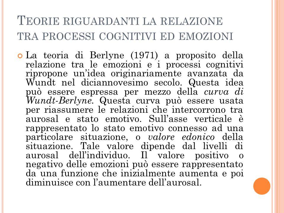 T EORIE RIGUARDANTI LA RELAZIONE TRA PROCESSI COGNITIVI ED EMOZIONI La teoria di Berlyne (1971) a proposito della relazione tra le emozioni e i processi cognitivi ripropone unidea originariamente avanzata da Wundt nel diciannovesimo secolo.