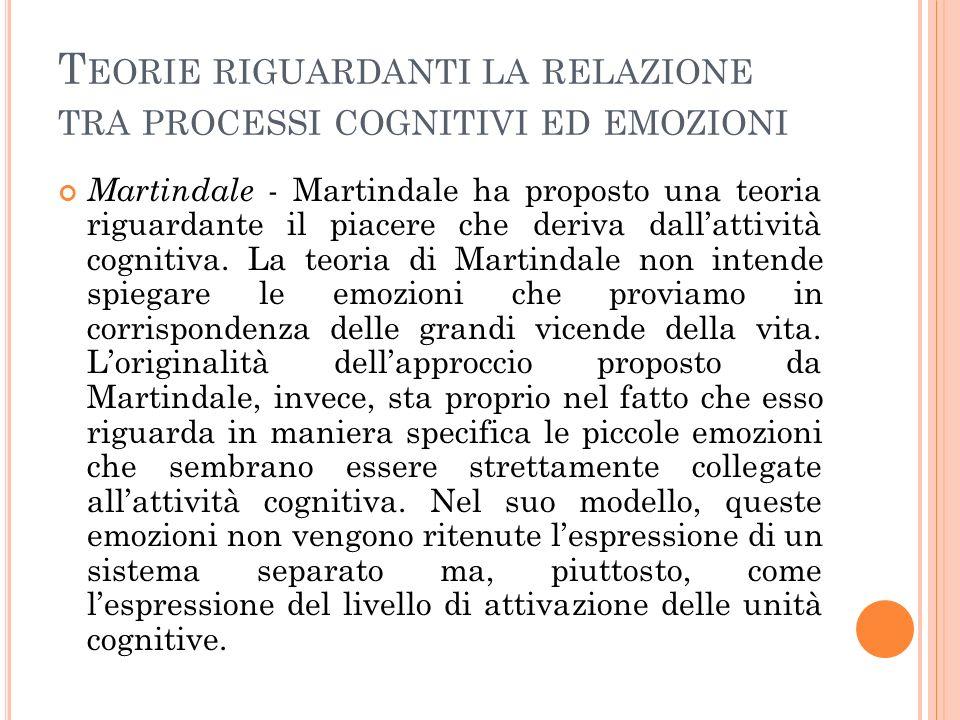 T EORIE RIGUARDANTI LA RELAZIONE TRA PROCESSI COGNITIVI ED EMOZIONI Martindale - Martindale ha proposto una teoria riguardante il piacere che deriva dallattività cognitiva.