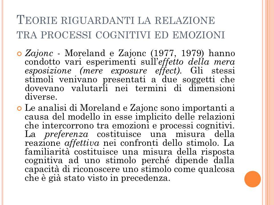 T EORIE RIGUARDANTI LA RELAZIONE TRA PROCESSI COGNITIVI ED EMOZIONI Zajonc - Moreland e Zajonc (1977, 1979) hanno condotto vari esperimenti sull effetto della mera esposizione (mere exposure effect).