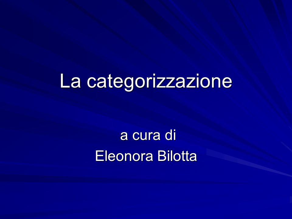 La categorizzazione a cura di a cura di Eleonora Bilotta