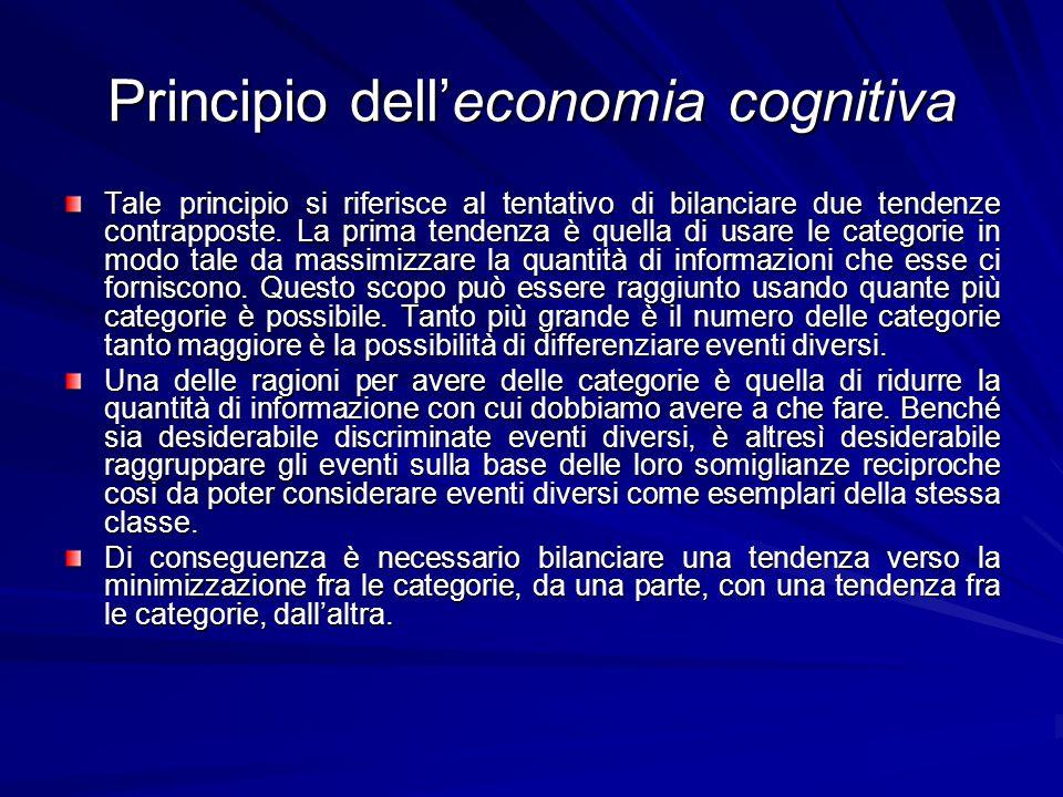 Principio delleconomia cognitiva Tale principio si riferisce al tentativo di bilanciare due tendenze contrapposte.