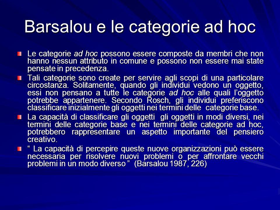 Barsalou e le categorie ad hoc Le categorie ad hoc possono essere composte da membri che non hanno nessun attributo in comune e possono non essere mai state pensate in precedenza.
