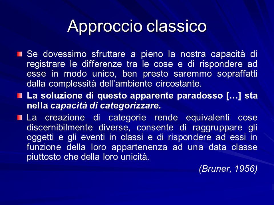 Approccio classico Il libro A study of thinking di Bruner, Goodnow e austin (1956) costituisce una pietra miliare nello studio dei processi cognitivi.