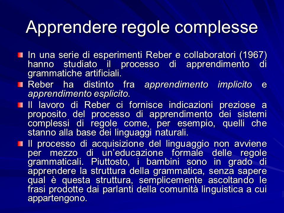Apprendere regole complesse In una serie di esperimenti Reber e collaboratori (1967) hanno studiato il processo di apprendimento di grammatiche artificiali.