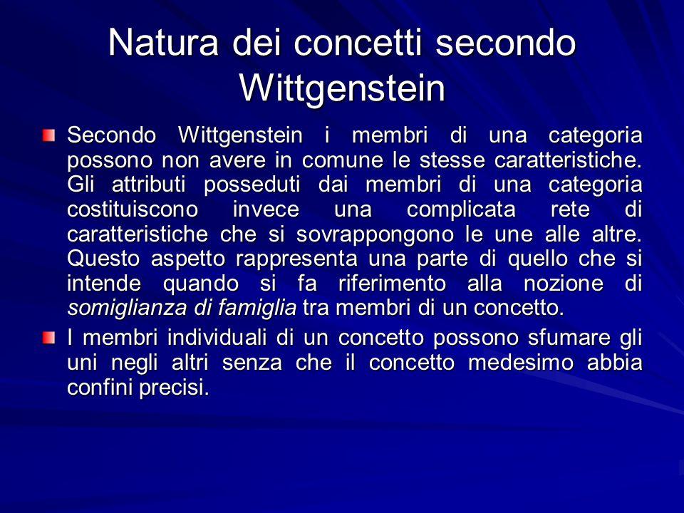 Natura dei concetti secondo Wittgenstein Secondo Wittgenstein i membri di una categoria possono non avere in comune le stesse caratteristiche.