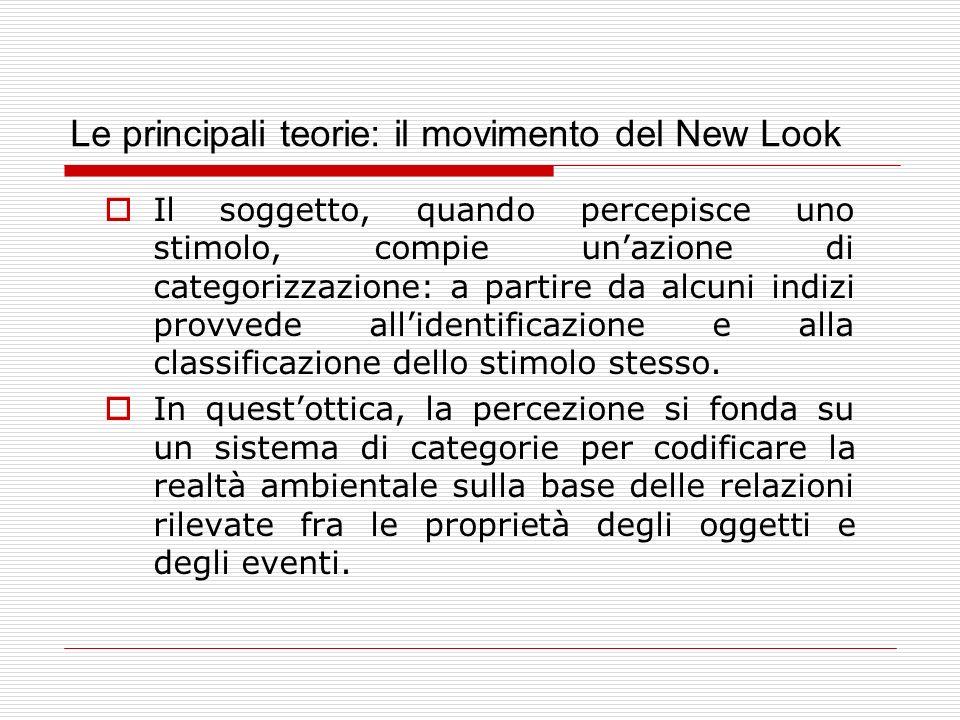 Le principali teorie: il movimento del New Look Il soggetto, quando percepisce uno stimolo, compie unazione di categorizzazione: a partire da alcuni i