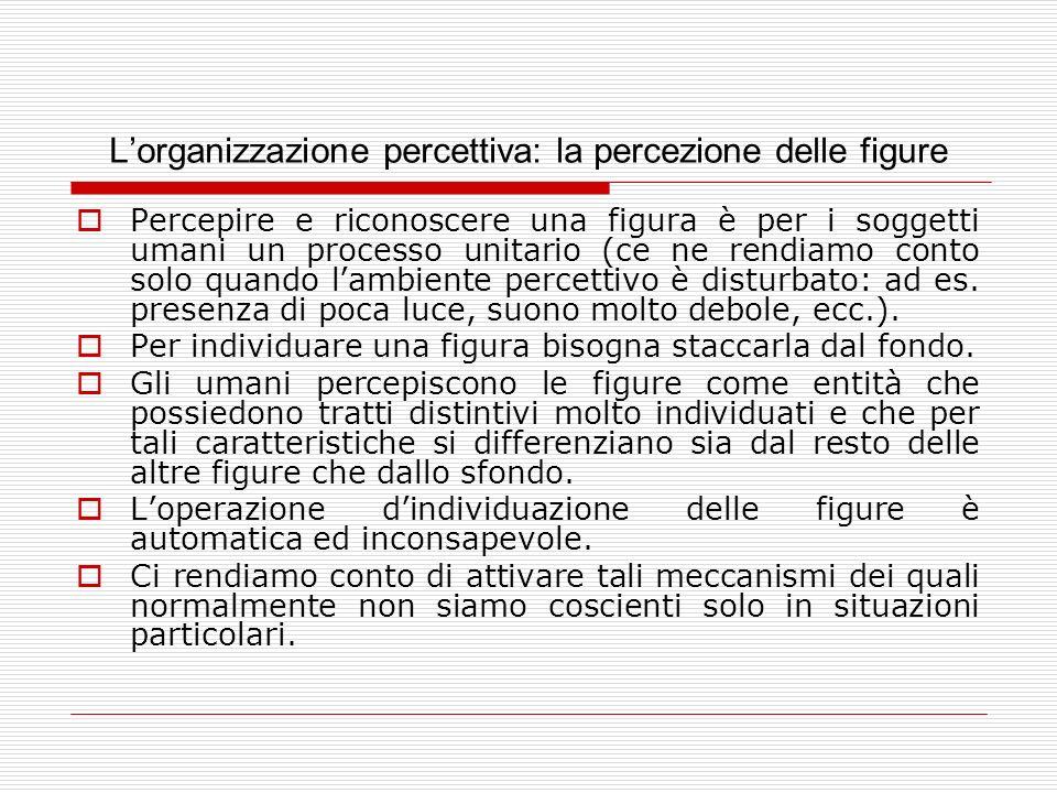 Lorganizzazione percettiva: la percezione delle figure Percepire e riconoscere una figura è per i soggetti umani un processo unitario (ce ne rendiamo