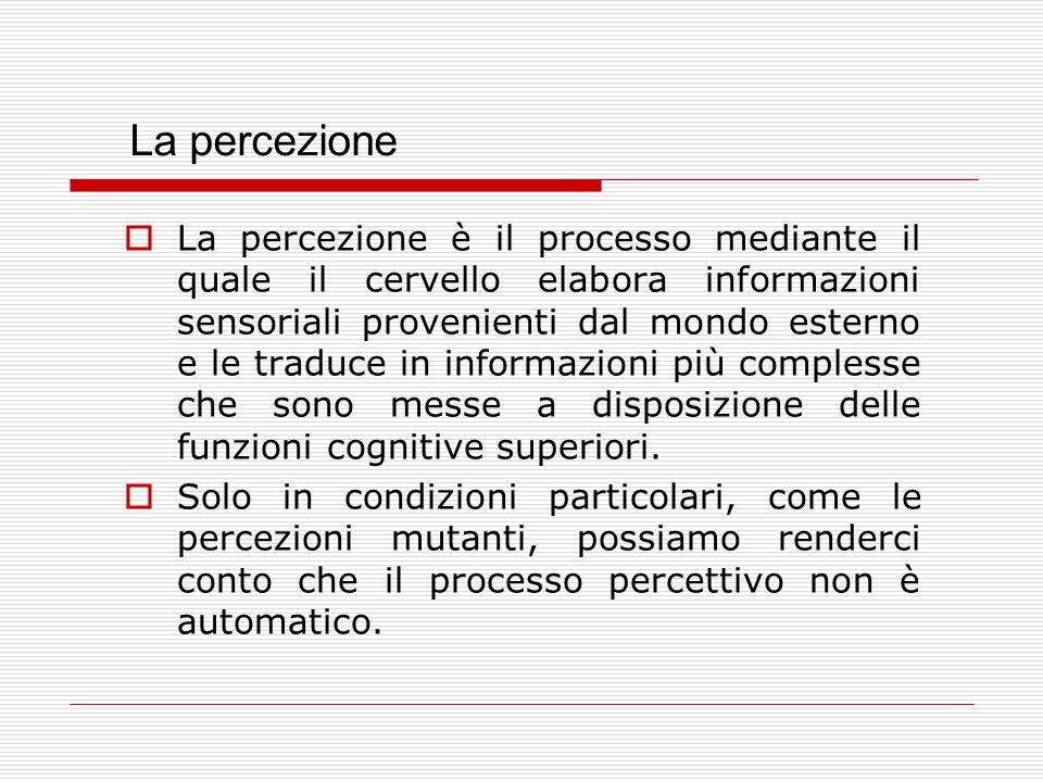 La percezione non è una risposta passiva e frammentata, ma unorganizzazione immediata, dinamica dei dati della realtà.