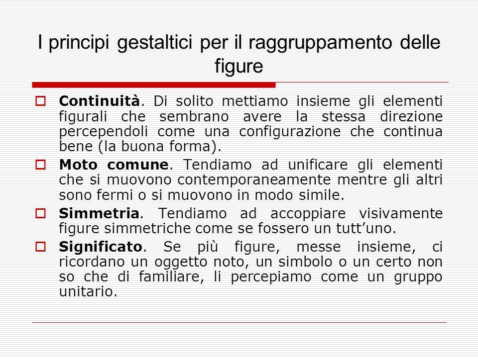 I principi gestaltici per il raggruppamento delle figure Continuità. Di solito mettiamo insieme gli elementi figurali che sembrano avere la stessa dir
