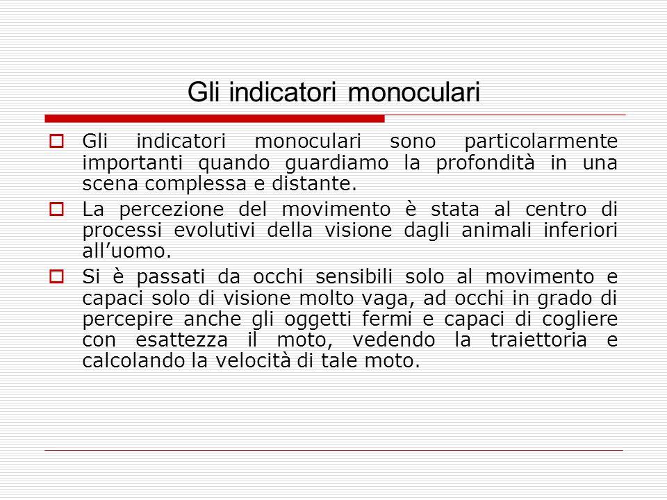 Gli indicatori monoculari Gli indicatori monoculari sono particolarmente importanti quando guardiamo la profondità in una scena complessa e distante.