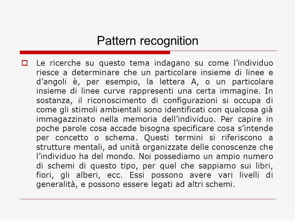 Pattern recognition Le ricerche su questo tema indagano su come lindividuo riesce a determinare che un particolare insieme di linee e dangoli è, per e