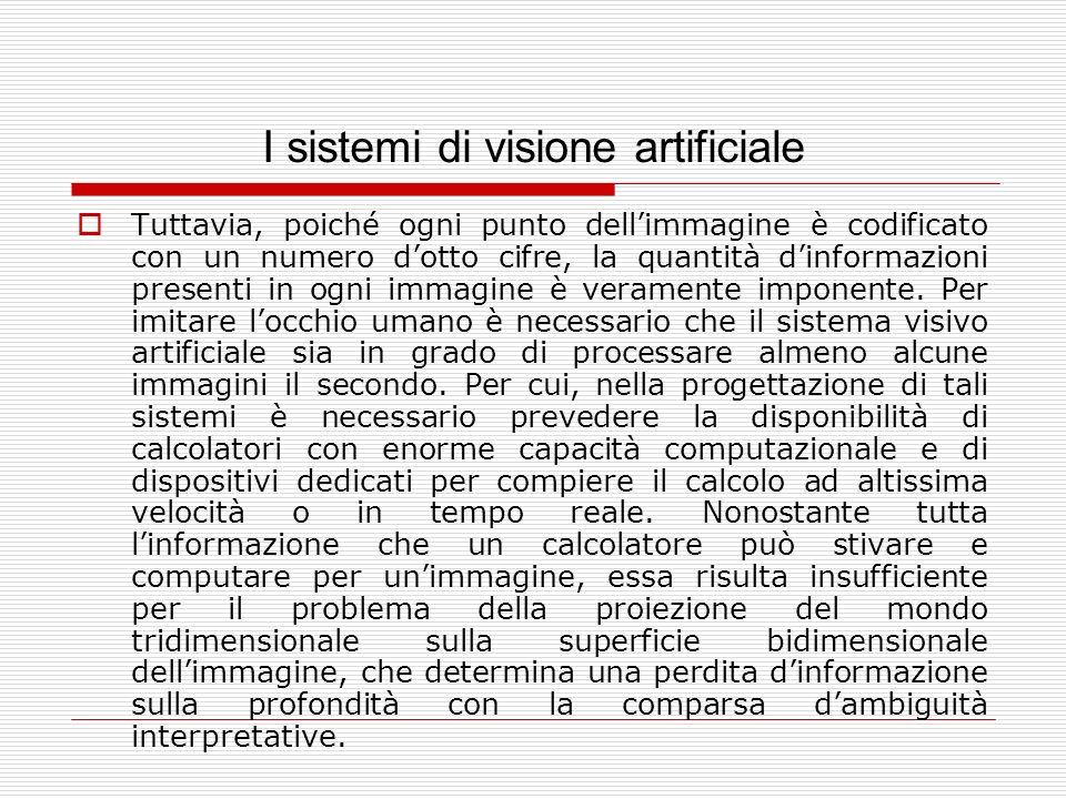 I sistemi di visione artificiale Tuttavia, poiché ogni punto dellimmagine è codificato con un numero dotto cifre, la quantità dinformazioni presenti i