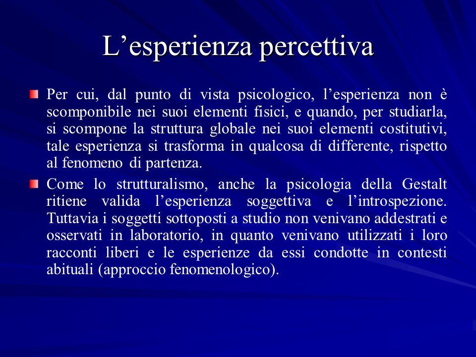 Lesperienza percettiva Per cui, dal punto di vista psicologico, lesperienza non è scomponibile nei suoi elementi fisici, e quando, per studiarla, si s