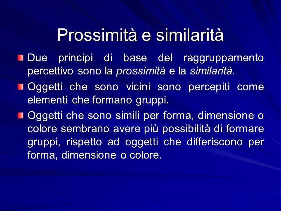 Prossimità e similarità Due principi di base del raggruppamento percettivo sono la prossimità e la similarità. Oggetti che sono vicini sono percepiti