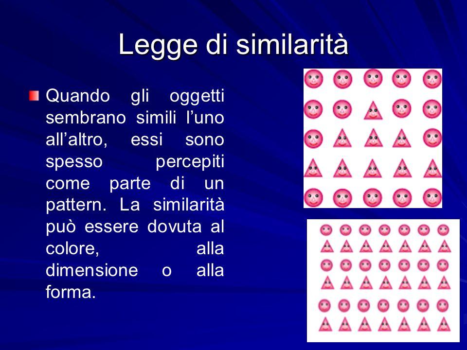 Legge di similarità Quando gli oggetti sembrano simili luno allaltro, essi sono spesso percepiti come parte di un pattern. La similarità può essere do