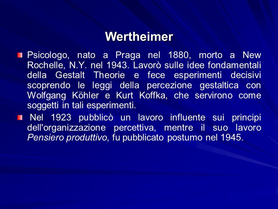 Wertheimer Psicologo, nato a Praga nel 1880, morto a New Rochelle, N.Y. nel 1943. Lavorò sulle idee fondamentali della Gestalt Theorie e fece esperime