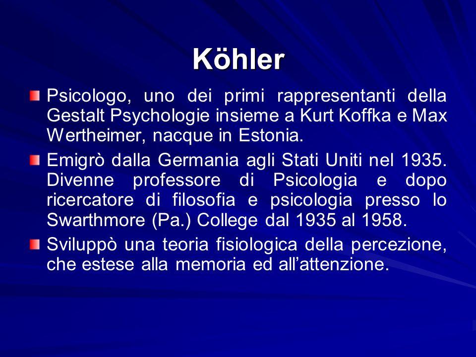 Köhler Psicologo, uno dei primi rappresentanti della Gestalt Psychologie insieme a Kurt Koffka e Max Wertheimer, nacque in Estonia. Emigrò dalla Germa