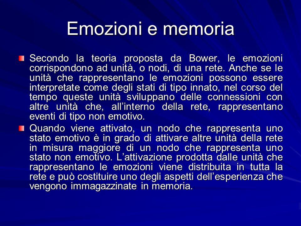 Emozioni e memoria Secondo la teoria proposta da Bower, le emozioni corrispondono ad unità, o nodi, di una rete. Anche se le unità che rappresentano l