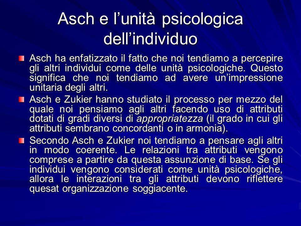 Asch e lunità psicologica dellindividuo Asch ha enfatizzato il fatto che noi tendiamo a percepire gli altri individui come delle unità psicologiche. Q