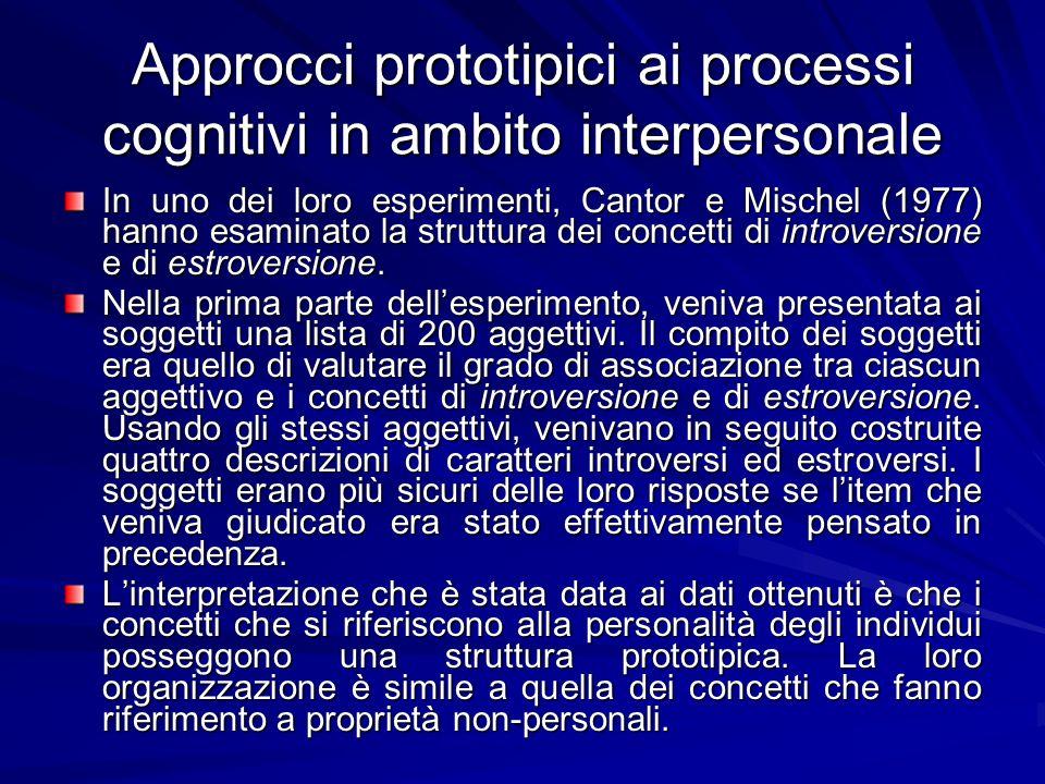 Approcci prototipici ai processi cognitivi in ambito interpersonale In uno dei loro esperimenti, Cantor e Mischel (1977) hanno esaminato la struttura