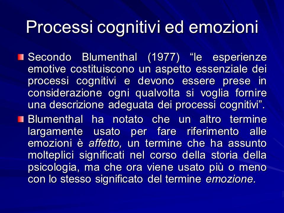 Processi cognitivi ed emozioni Secondo Blumenthal (1977) le esperienze emotive costituiscono un aspetto essenziale dei processi cognitivi e devono ess