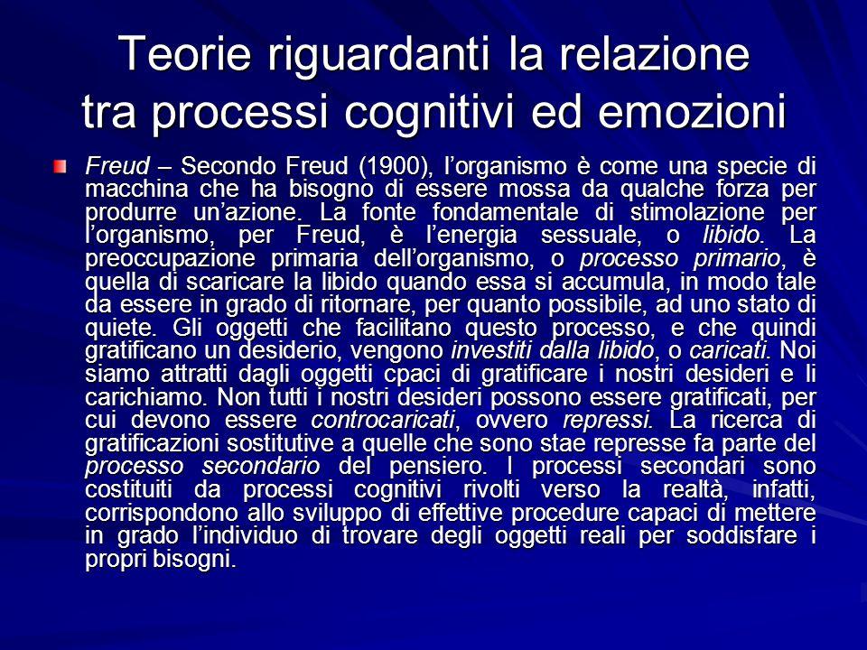 Teorie riguardanti la relazione tra processi cognitivi ed emozioni Freud – Secondo Freud (1900), lorganismo è come una specie di macchina che ha bisog