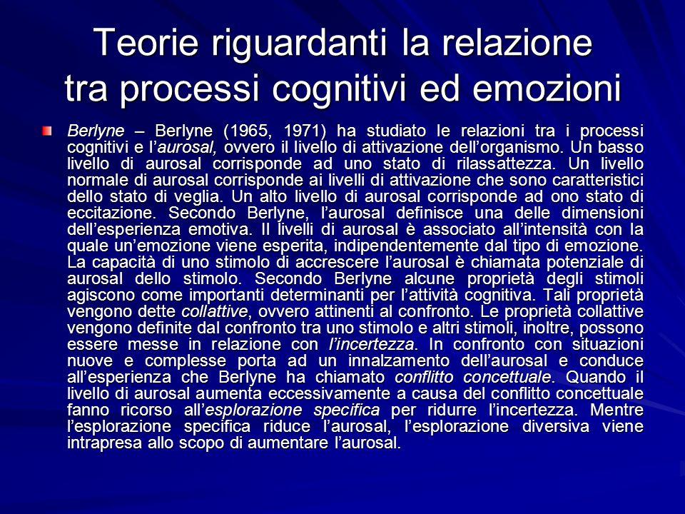 Teorie riguardanti la relazione tra processi cognitivi ed emozioni Berlyne – Berlyne (1965, 1971) ha studiato le relazioni tra i processi cognitivi e