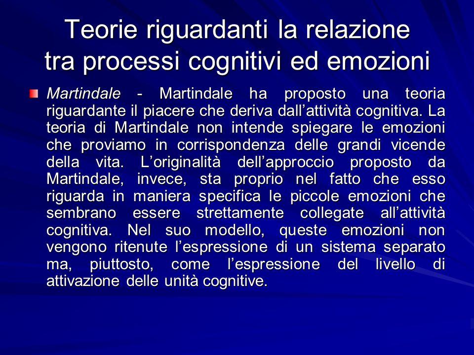 Teorie riguardanti la relazione tra processi cognitivi ed emozioni Martindale - Martindale ha proposto una teoria riguardante il piacere che deriva da