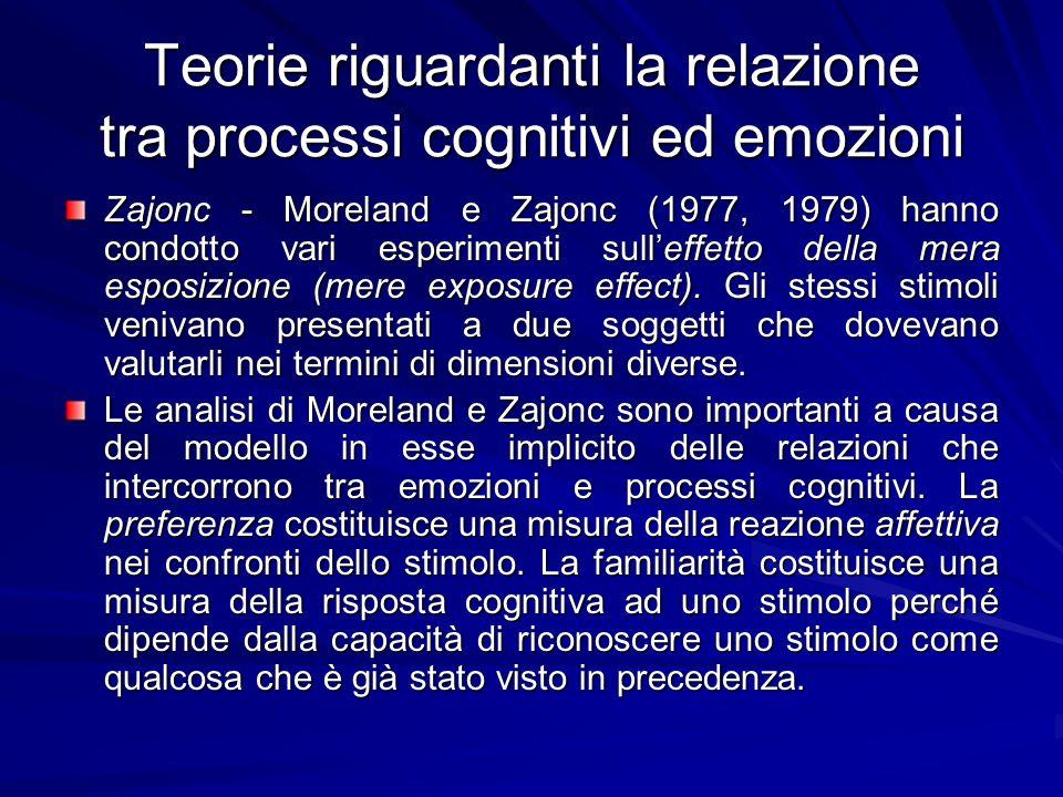 Teorie riguardanti la relazione tra processi cognitivi ed emozioni Zajonc - Moreland e Zajonc (1977, 1979) hanno condotto vari esperimenti sulleffetto