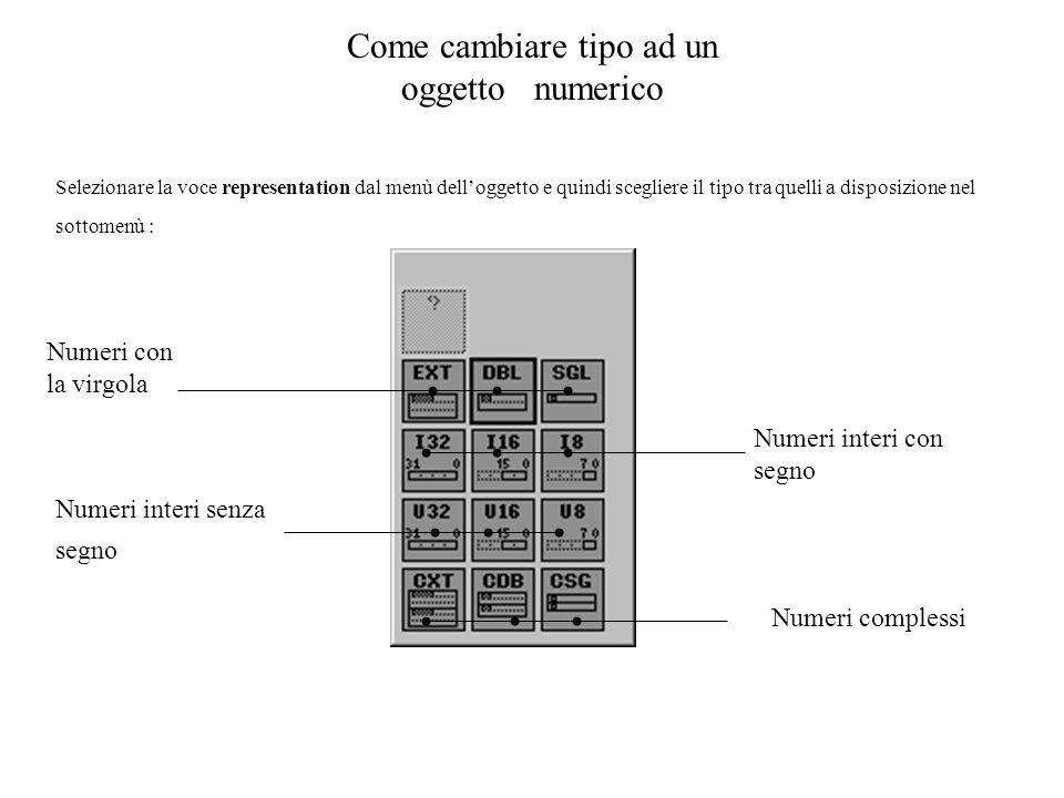 Come cambiare tipo ad un oggetto numerico Selezionare la voce representation dal menù delloggetto e quindi scegliere il tipo tra quelli a disposizione