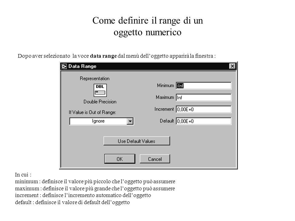 Come definire il range di un oggetto numerico Dopo aver selezionato la voce data range dal menù delloggetto apparirà la finestra : In cui : minimum :