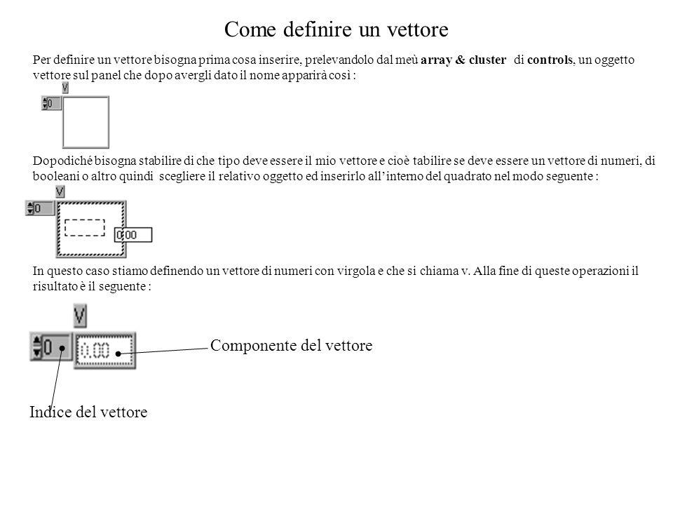 Come definire un vettore Per definire un vettore bisogna prima cosa inserire, prelevandolo dal meù array & cluster di controls, un oggetto vettore sul