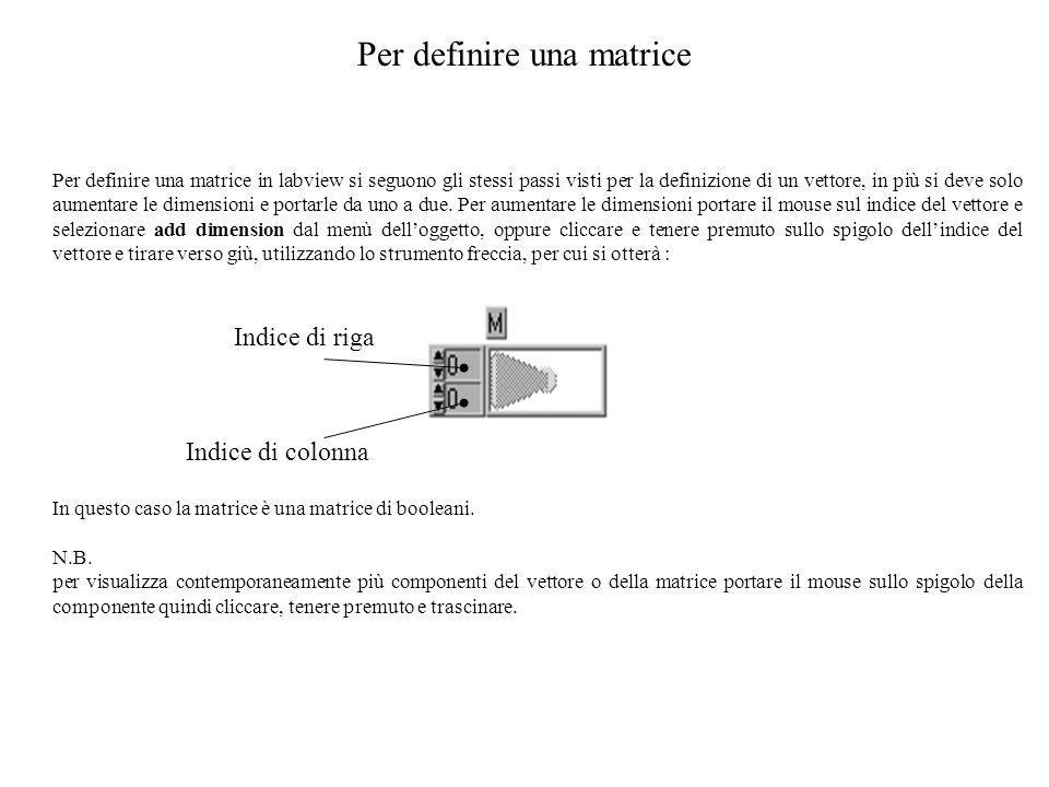 Per definire una matrice Per definire una matrice in labview si seguono gli stessi passi visti per la definizione di un vettore, in più si deve solo a