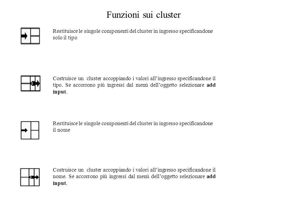 Funzioni sui cluster Restituisce le singole componenti del cluster in ingresso specificandone solo il tipo Costruisce un cluster accoppiando i valori