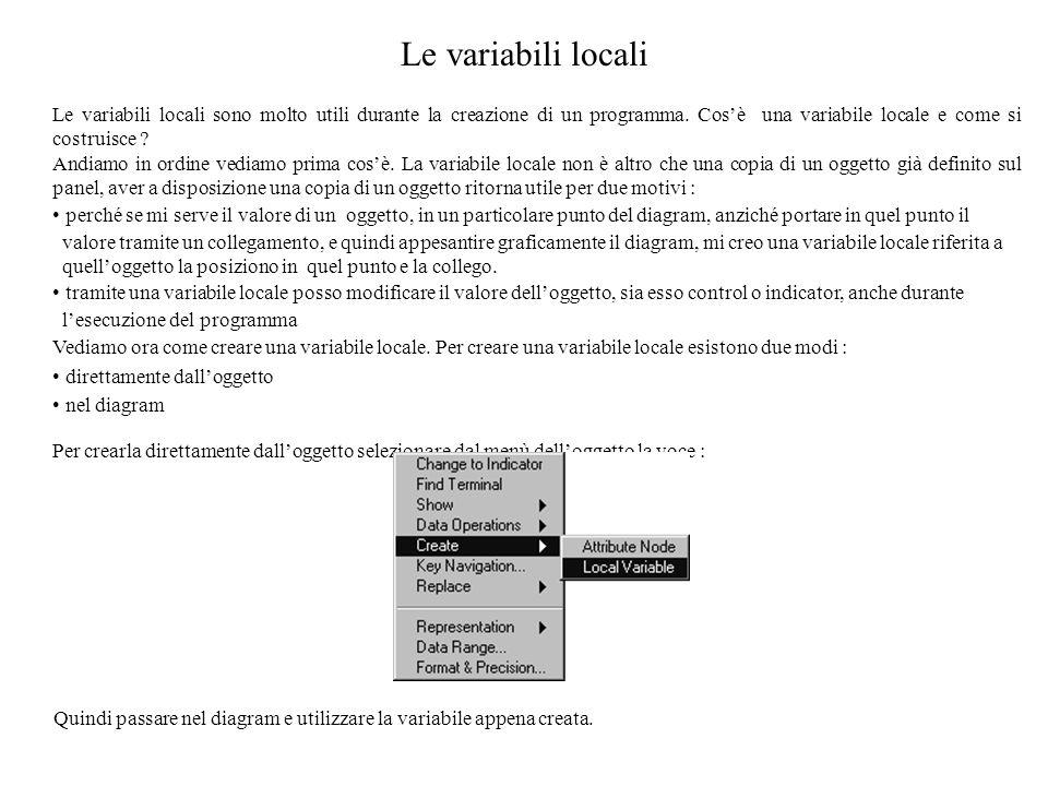 Le variabili locali Le variabili locali sono molto utili durante la creazione di un programma. Cosè una variabile locale e come si costruisce ? Andiam