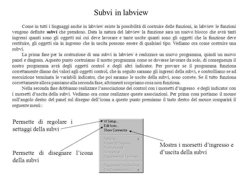 Subvi in labview Come in tutti i linguaggi anche in labview esiste la possibilità di costruire delle funzioni, in labview le funzioni vengono definite